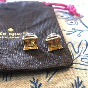 Kate Spade Large Square Citrine Stud Earrings